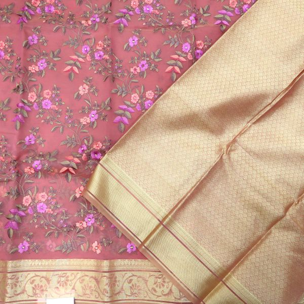 Dark Peach & Gold Colored Kora Maheshwari Silk Saree
