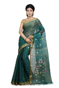 Deep Green Cotton Silk Saree