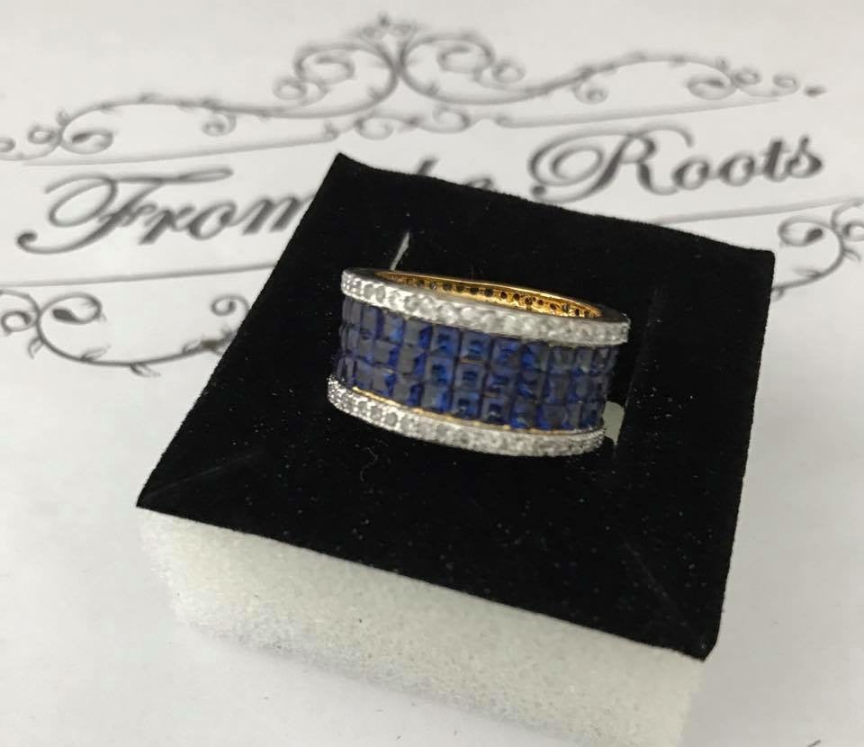Blue CZ Finger Ring