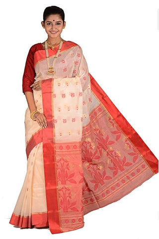 Creamy White & Red Matka Silk Saree