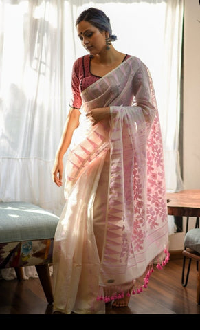 White and Pink Cotton Jamdani Saree