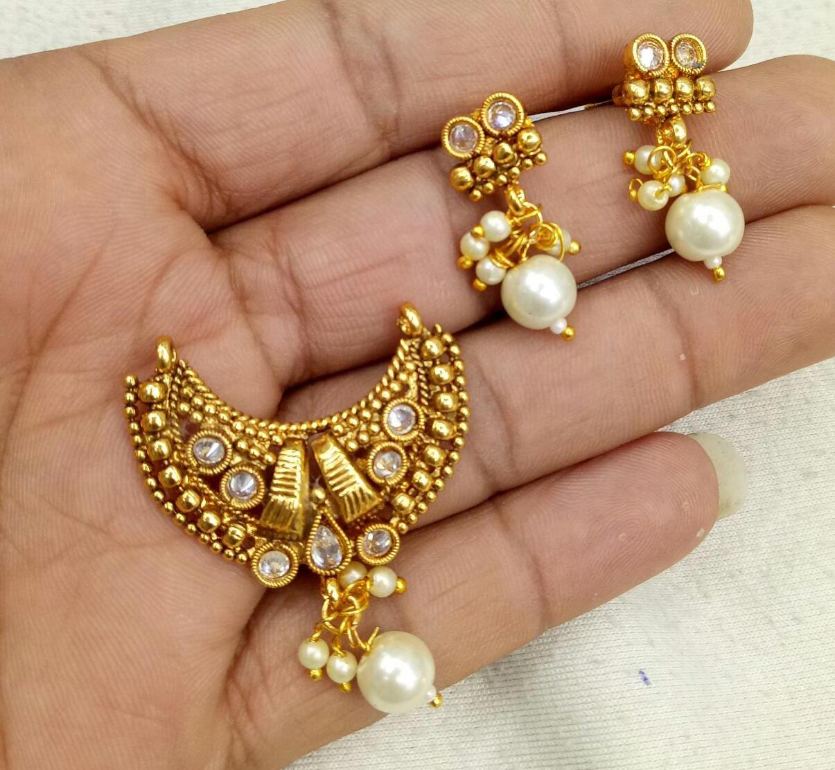 White Stone Studded Gold Colored MangalSutra Chain With Matching Earrings
