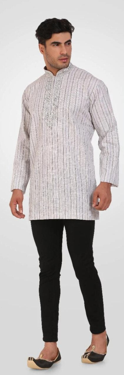 Off White Colored Embroidered Dupion Silk Mens Short Kurta