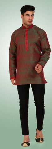 Iridescent Greenish Red Colored Embroidered Dupion Silk Mens Short Kurta