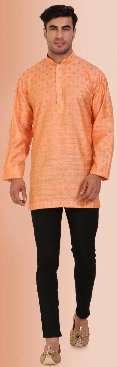 Orange Colored Embroidered Dupion Silk Mens Short Kurta