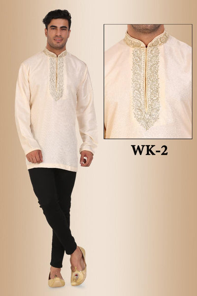 Cream Colored Embroidered Dupion Silk Mens Short Kurta