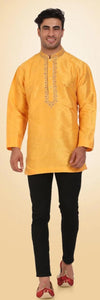 Yellow Colored Embroidered Dupion Silk Mens Short Kurta