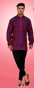 Iridescent Pinkish Orange Colored Embroidered Dupion Silk Mens Short Kurta