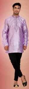 Iridescent Purple Colored Embroidered Dupion Silk Mens Short Kurta