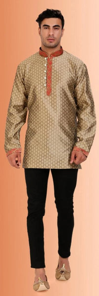 Iridescent Lime Colored Embroidered Dupion Silk Mens Short Kurta