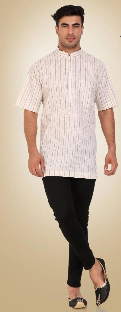 White Colored Embroidered Dupion Silk Mens Short Kurta