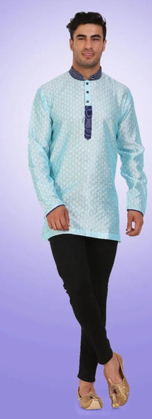 Sky Blue Colored Embroidered Dupion Silk Mens Short Kurta