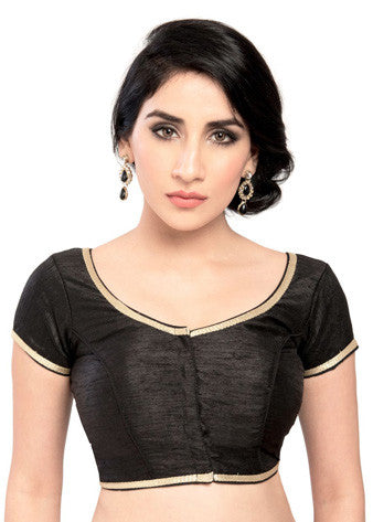 Black Brocade Front Open Blouse