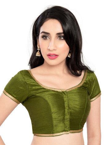Vamas Mehendi-Green Brocade Front Open Blouse