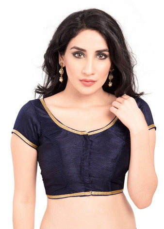 Vamas Navy-Blue Brocade Front Open Blouse
