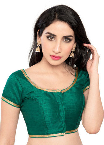 Vamas Rama-Green Brocade Front Open Blouse
