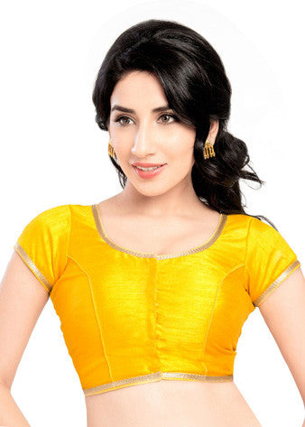 Vamas Yellow Brocade Front Open Blouse