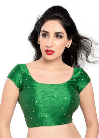 Vamas Green Dupion Silk Back Open Blouse