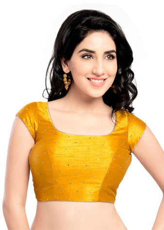 Vamas Mustard Dupion Silk Back Open Blouse