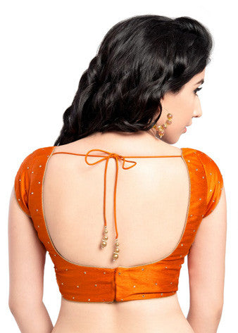 Vamas Orange Dupion Silk Back Open Blouse