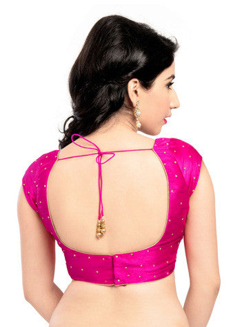 Vamas Pink Dupion Silk Back Open Blouse