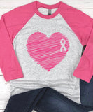 Breast Cancer Heart Ribbon Baseball Tee