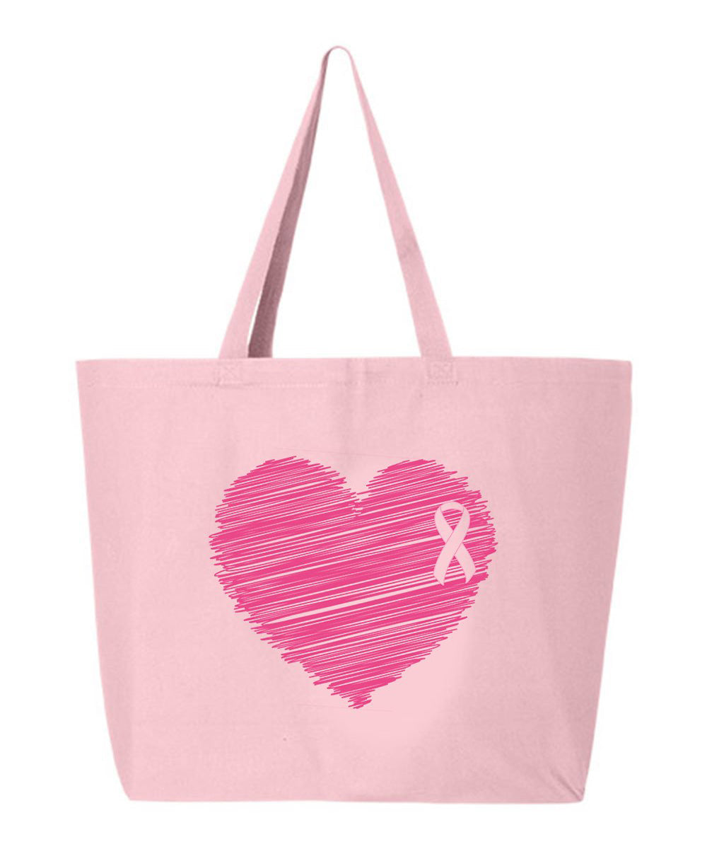 Breast Cancer Heart Ribbon Tote Bag