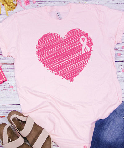 Breast Cancer Heart Ribbon