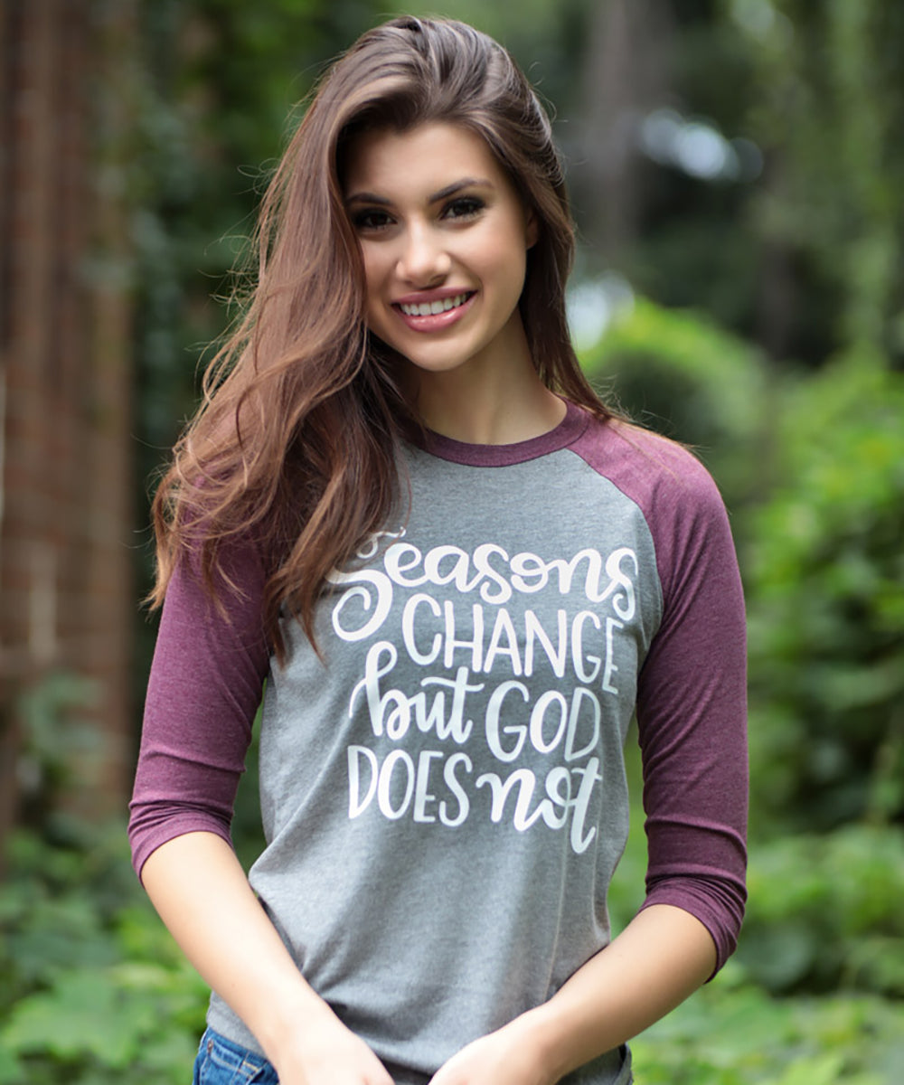 God Never Changes Raglan Baseball Tee