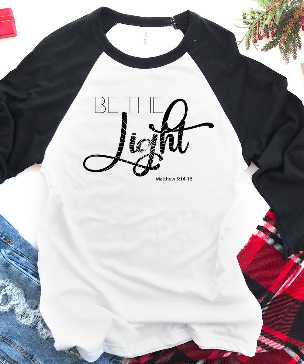 Be The Light Raglan Baseball Tee