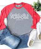 Created With A Purpose Raglan Baseball Tee