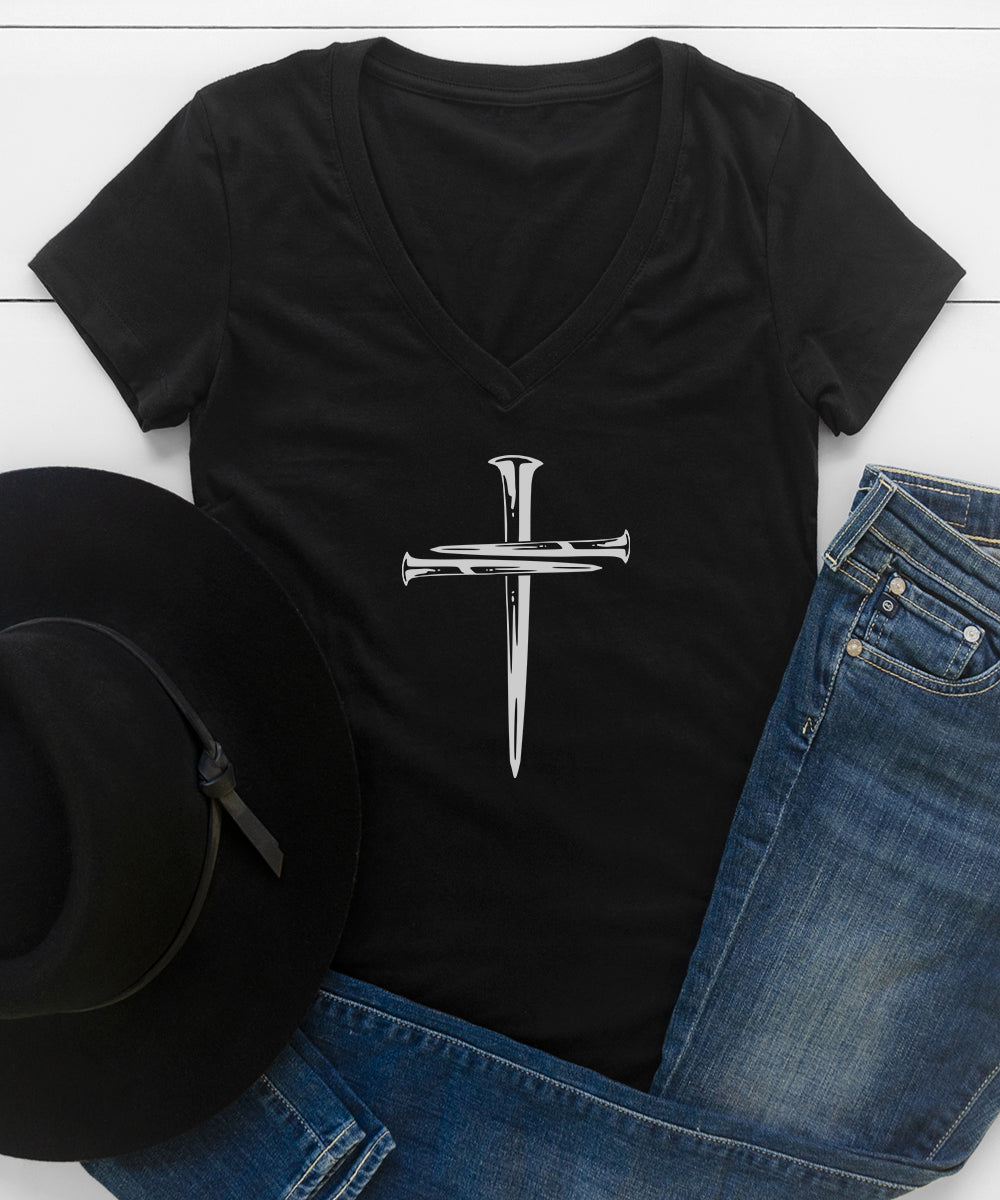 Cross Nails V-Neck