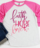 Faith, Hope Love Baseball Raglan Tee