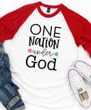 One Nation Under God Raglan Baseball Tee