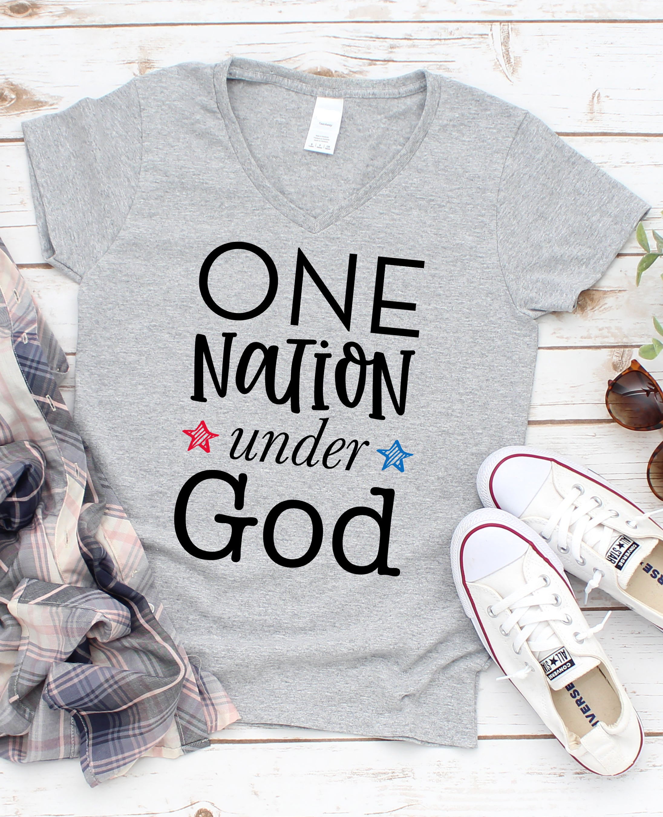 One Nation Under God Relax Fit V-Neck