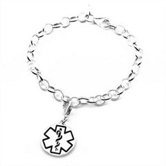 Charming Sterling Medical ID Bracelet with Engraving