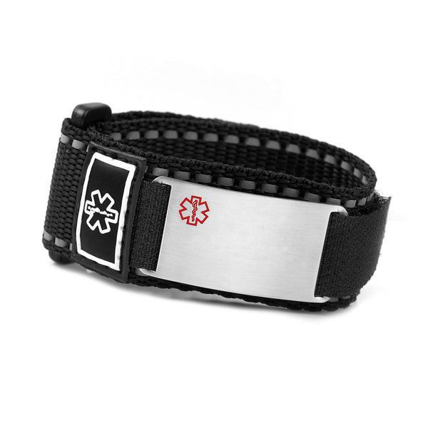 Black Velcro Sport Medical ID Bracelet with Engraving