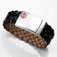 Black Woven Medical ID Bracelet with Engraving