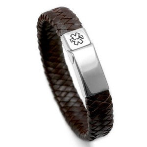 Braiding Your Way to Saving Your Life - Brown Medical ID Leather Bracelet