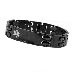 Modern Black Stainless Medical ID Bracelet with Engraving