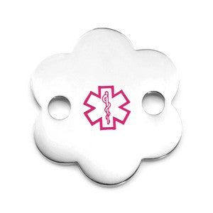 Pink Flower Stainless Medical ID Tag