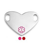 Heart Shaped Medical ID Tag With Pink or Red Medical Symbol with Engraving