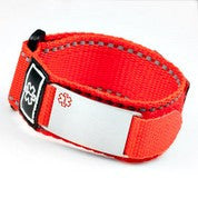 Red Velcro Sport Medical ID Bracelet with Engraving