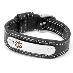 Sporty Leather Medical Alert ID Bracelet with Engraving