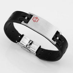 Stitched Leather Medical ID Bracelet with Engraving