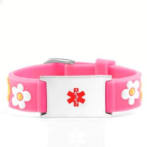 Pink Flower Power Medical ID Bracelet