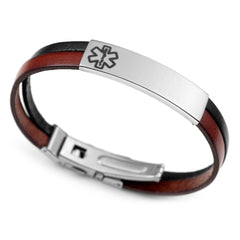 Two Tone Italian Leather Medical ID Bracelet