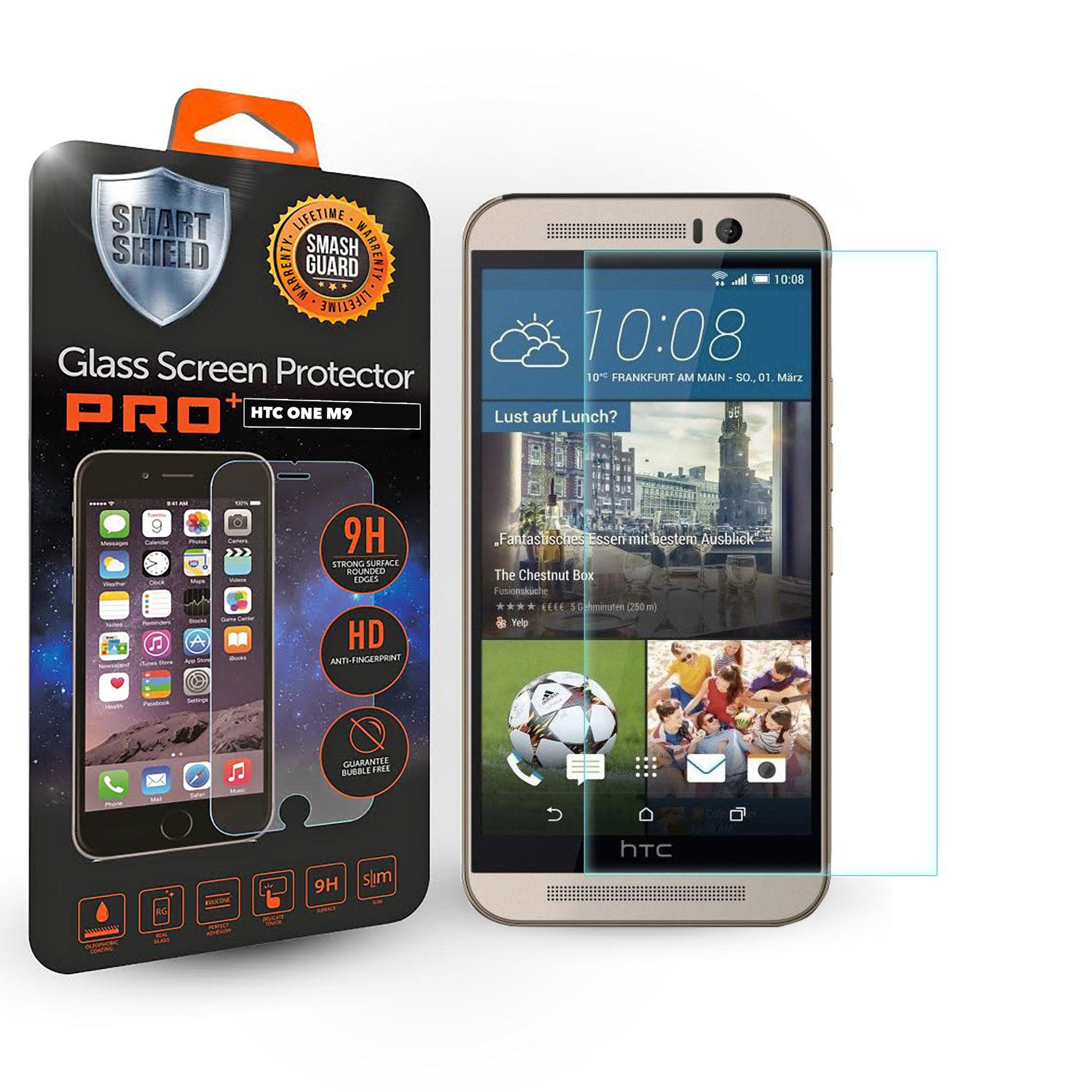 HTC One M9 Tempered Glass Screen Protector - Smart Shield - 1