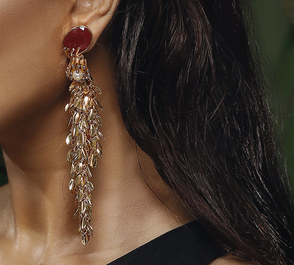 LEAFY DROPLET EARRINGS