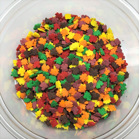 Fall Leaves Leaf Shapes Bakery Topping Sprinkles 8 ounces fall colors